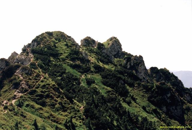 Vrchol Velký Rozsutec focený z nepojmenovaného vrcholu umístěného severně od Velkého Rozsutce.