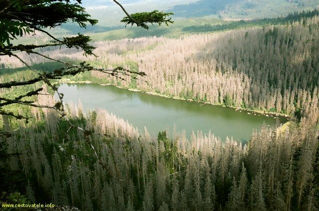 Plešné jezero od pomníku Adalberta Stifftera  - Šumava
