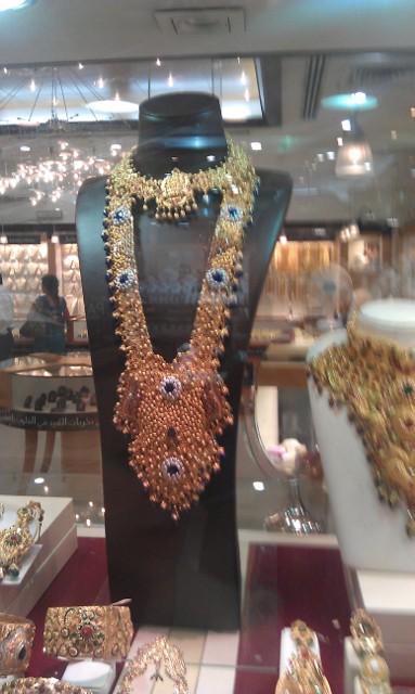 Vystavené zboží - Zlatý trh (Gold Souk), emirát Dubaj