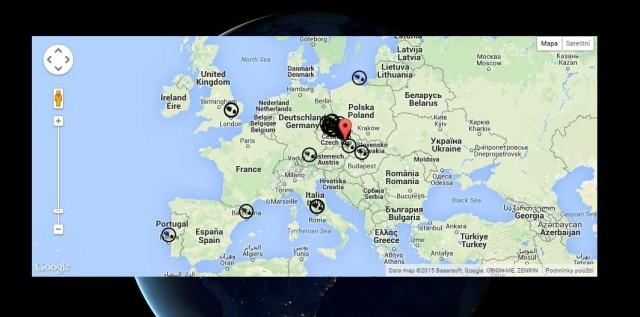 Mapa zašlápnutých míst