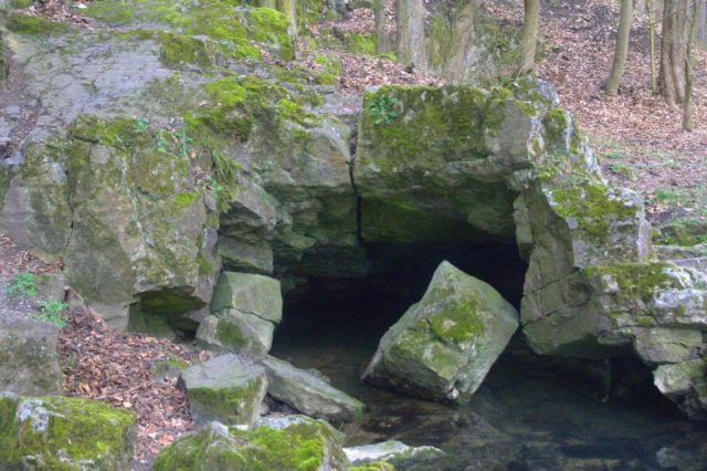 Vývěr Jedovnického potoka - voda opouští 13 kilometrů dlouhý jeskynní komplex