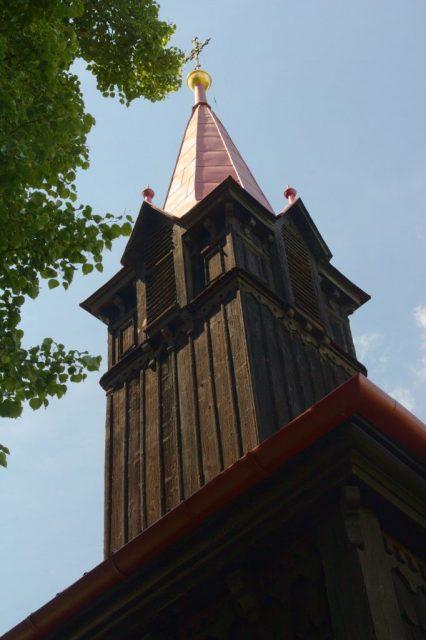 Věž kostela Panny Marie, pomocnice křesťanů na Gruni, Moravskoslezské Beskydy