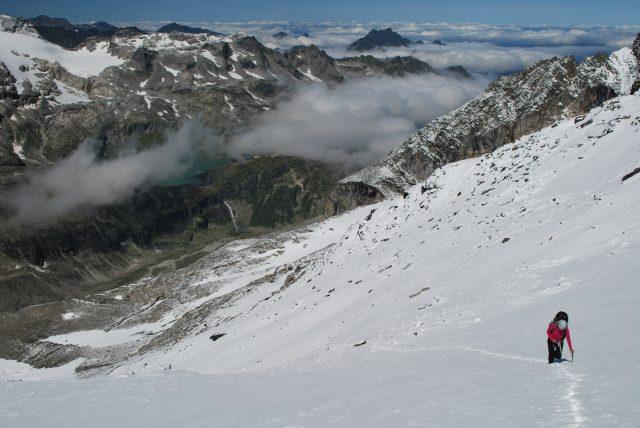 Pohled zpět do údolí cestou na Obere Ödenwinkelscharte